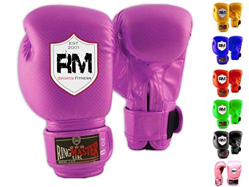 ringmasteruk Bambini Guanti da boxe da allenamento in pelle sintetica Sacco da boxe guanto viola, uomo Donna Bambino, Purple, 8 oz (236 ml)