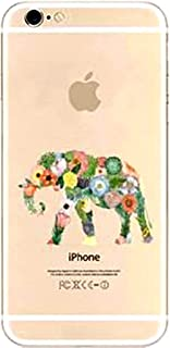 DECO FAIRY Compatible with iPhone 8 Plus / 7 Plus, Cartoon Anime Animated Floral Elephant Wild Forest Transparent Translucent Flexible Silicone Cover Case