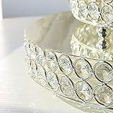 H&D 3 Silbrig Farben Rund Tortenständer Hochzeit Geburtstag Dekoration mit klar funkelt kristall Korn 8,10,12Inch Größe - 3