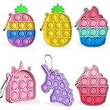 6 Pcs Mini Pop Fidget Simple Dimple Toy,Mini Push Pop Fidget Toy Keychain,Silicona Sensorial Fidget Juguete,Autismo Necesidades Especiales Aliviador del Antiestrés del Juguetes para Niños