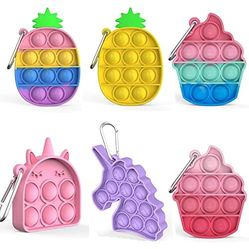 6 Pcs Mini Pop Fidget Simple Dimple Toy,Mini Push Pop Fidget Toy Keychain,Mini Rainbow Tie dye Bubble Wrap Sensory Silicone Toy, Autism Needs Stress Reliever Tactile Logic Game for Kids