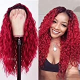 QD-Tizer Ombre Red Lace Front Wigs for Women Long Loose Curly Hair Heat Resistant Synthetic Wig