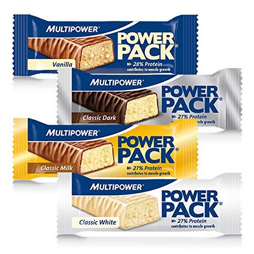 Multipower Power Pack Mix Box Protein Riegel, Eiweißriegel mit 27% Protein, klassischer Power Bar als gesunder Sport-Snack, in 4 leckeren Geschmacksrichtungen, 24 x 35 g