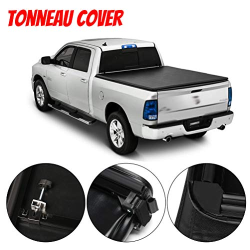 ECCPP Hard Tri-Fold Truck Bed Tonneau Cover fit for Nissan Frontier 2005-2018 | Fleetside 5FT Truck Bed | LED Lamp | No-drill Install| Low Profile Waterproof Tonneau Cover