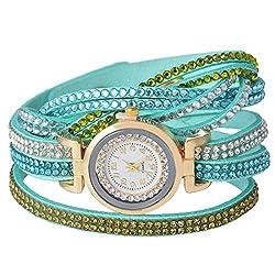 Green Korea Velvet With Rhinestone Quartz Analog Wrist Watch