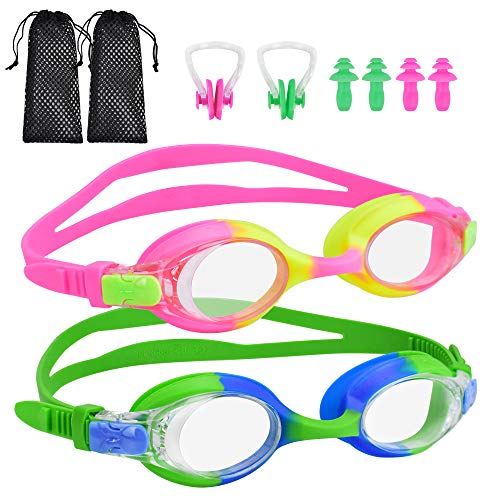 BROTOU Swim Goggles, Pack of 2 Kids Swimming Goggles No Leaking Anti Fog Swim Goggles for Children Boys Girls and Early Teens from 3 to 12 Years Old (Green&Pink)
