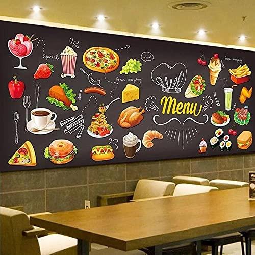 Papel Tapiz No Tejido Para Papel Tapiz 3D Fácil De Colocar Y Calidad Hd Pizarra Personalizada Graffiti Comida 3D Mural Papel Tapiz Pastelería Cafetería Tienda De Hamburguesas Restaurante Foto Papel