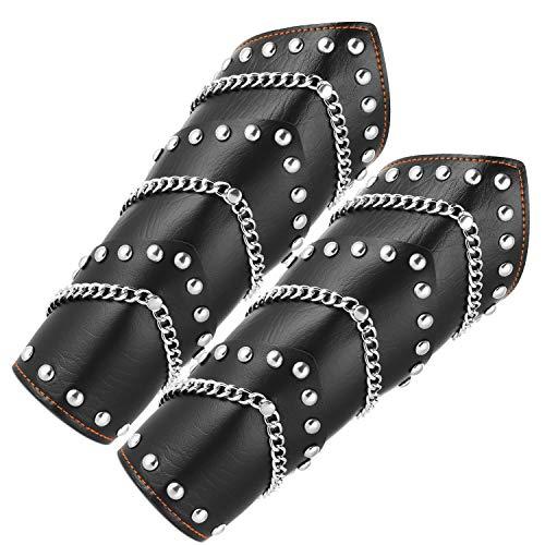 HZMAN Faux Leather Metal Link Spike Studded Gauntlet Wristband Wide Bracer Arm Armor Cuff/Leg Guards Leggings Calf Armor (Arm Armor)
