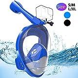 Avoalre Masque de Plongée Masque Snorkeling Plein Visage 180° Visible Anti-Buée et Anti-Fuite avec la Support pour Caméra de Sport pour Adulte -Bleu