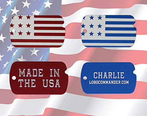 Lobo Commander Custom Engraved Patriotic American Flag Military ID Pet Tag for Dogs & Cats Personalized w/Up to Five Lines of Text - Also Makes a Great Luggage Tag