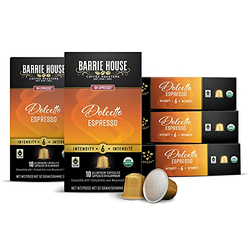 Barrie House Espresso Capsules, Dolcetto (50 Count)   Medium Roast   Compatible with Nespresso Original Coffee Machines   Certified Fair Trade Organic   Recyclable Aluminum Pods