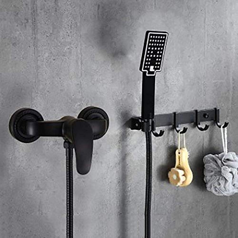 Oevina Duschen Edelstahl Kupfer Krper Schwarz Retro-Mode Wandmontierte Reihe Haken Handbrause Einhand-warmes und kaltes Wasser 4-Loch-InsGrößetion 1,5 m Schlauch