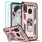 LeYi Funda Samsung Galaxy A20e Armor Carcasa con 360 Anillo iman Soporte Hard PC y Silicona TPU Bumper antigolpes Fundas Carcasas Case para movil Samsung A20e con HD Protector de Pantalla, Oro rosa