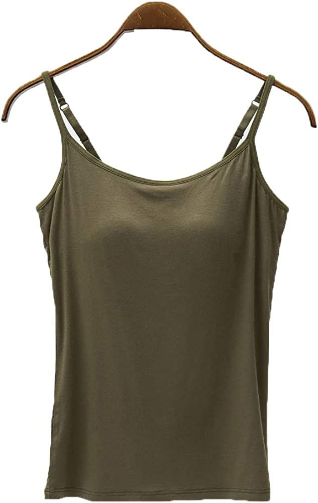 Atditama Womens Modal Built-in Bra Padded Active Camisole Short Sleeves Pajama Casual Tops T-Shirt