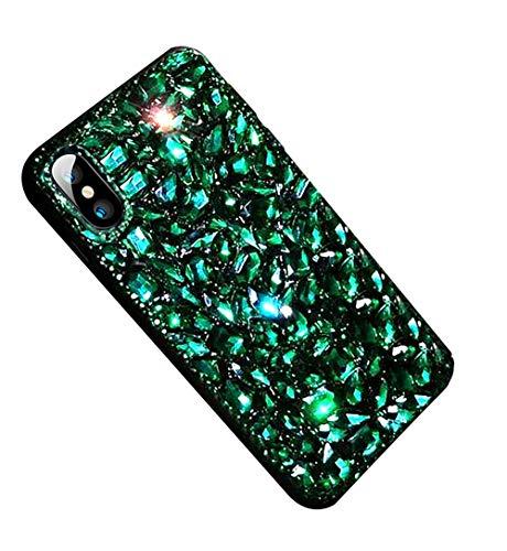 MoreChioce MoreChioce kompatibel mit iPhone XR Hülle, iPhone XR Handyhülle,Luxuriös Cool 3D Grün Diamant Bling Glitzer Paillette Transparent Silikon Bumper Glanz Strass Brillianter TPU Case Schutzhülle