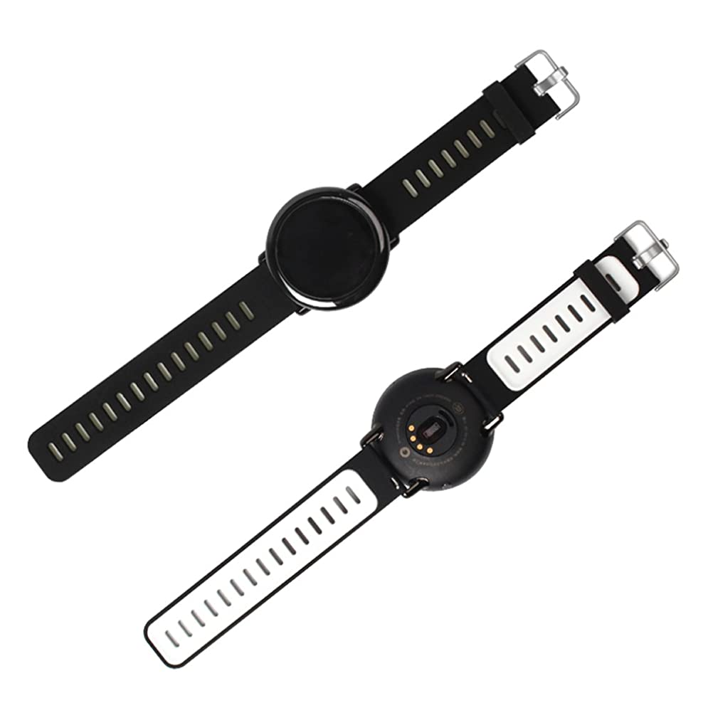 申請中しわ中世のPINHEN For 22MM時計バンド amazfit 腕時計用ベルト Samsung Gear S3 frontier/Classicシリコーンストラップ ラバーベルト運動 交換バンド 高級シリコン ベルト防水対応 LG G Watch MOTO 360 46MM Pebble Time (Black/White)
