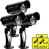 Vigilancia CCTV de Seguridad de cámara Falsa Falsa de 3 Piezas para Uso en Interiores o Exteriores con cámara de luz LED Intermitente, cámara montada en la Pared con Letrero