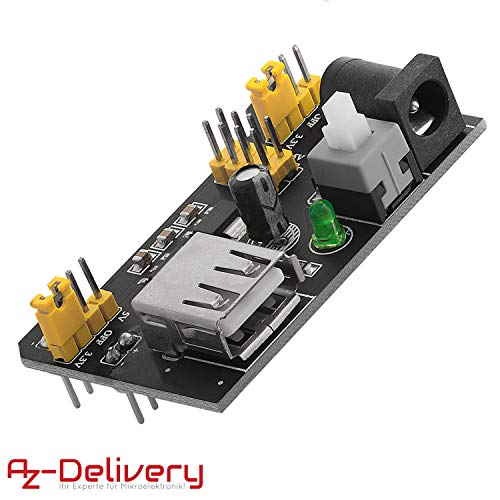 AZDelivery MB102 Breadboard Netzteil Adapter Power Supply Modul 3.3V/5V für Arduino