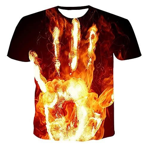 HOHHJFGG Camiseta de Verano para Hombre, Cuello Redondo, Estampado de Palma de Llama, Manga Corta, Cuello Redondo, Camiseta Informal para Hombre, Camiseta Superior
