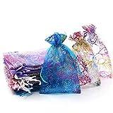 100枚 巾着袋 カラフル珊瑚柄オーガンジーアクセサリーや小物入れラッピング