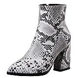 Lydee Mujer Moda Botines Tacon Ancho Cremallera Booties Dedo del pie Cerrado Partido Tacones Zapatos Animal Print Snake White Talla 37