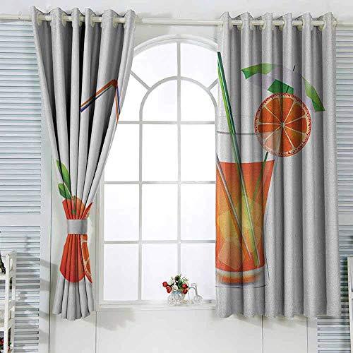 Graphic Decor Cortinas de cristal verde y naranja de zumo de naranja con frutas con pajitas coloridas de verano, impermeables, 72 x 160 cm, multicolor