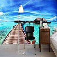 リビングルームソファ寝室テレビ背景壁壁画家の装飾壁画のための海の景色3D写真の壁紙-250x170cm