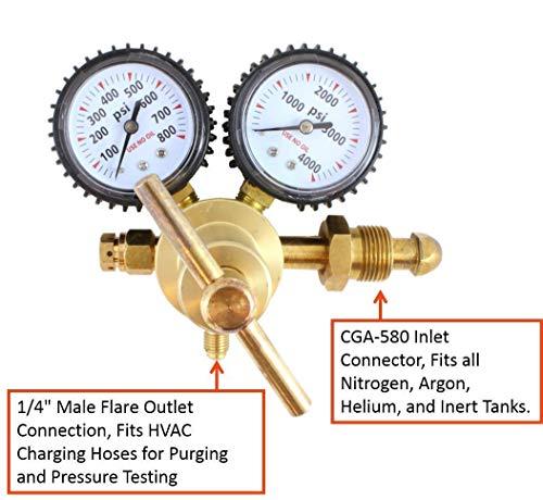 HUKOER Stickstoffregler mit 0-600 PSI Förderdruck, CGA580-Einlassanschluss und 1/4-Zoll-Fackelauslassanschluss für Spül- und Prüfanforderungen