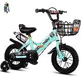 Bicicletas para niños Bicicletas para niñas12-14-16-18inch Plegable bike3-4-5-6-7-8-9-10-11-12year Bicicleta de Edad con Ruedas de Entrenamiento y Asiento Trasero Blanco Verde Rosa Rojo Rojo