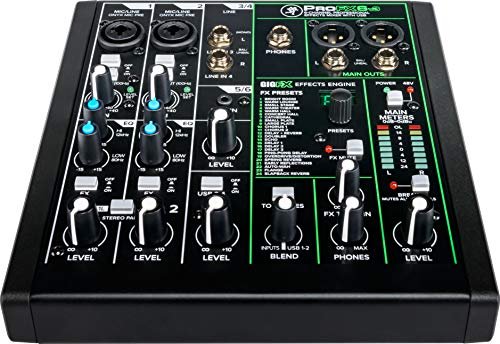 Mackie ProFXv3 Series, 6-Channel Professional Effects Mixer with USB, Onyx Mic Preamps and GigFX effects engine - Unpowered (ProFX6v3)