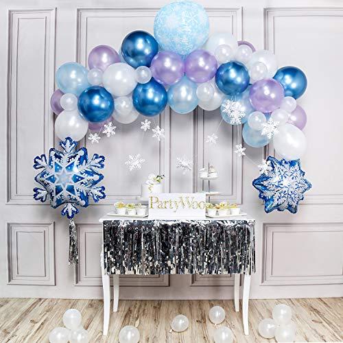 PartyWoo Frozen Party Ballon, Schneeflocken Deko Satz von Luftballons Blau, Hell Lila Luftballons, Hellblaue Luftballons, Luftballons Weiß, Folienballon, Deko Schneeflocken für Frozen Geburtstagsparty