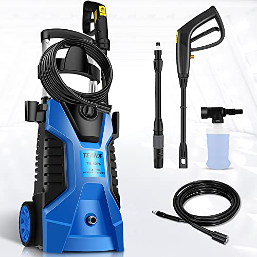 TEANDE Pressure Washer 3800PSI Electric Pressure Washer 2.8GPM Portable High Power Washer with Adjustable Spray Nozzle, Foam Cannon,for Cleaning Cars,Homes,Decks,Driveways,Patios(Blue)