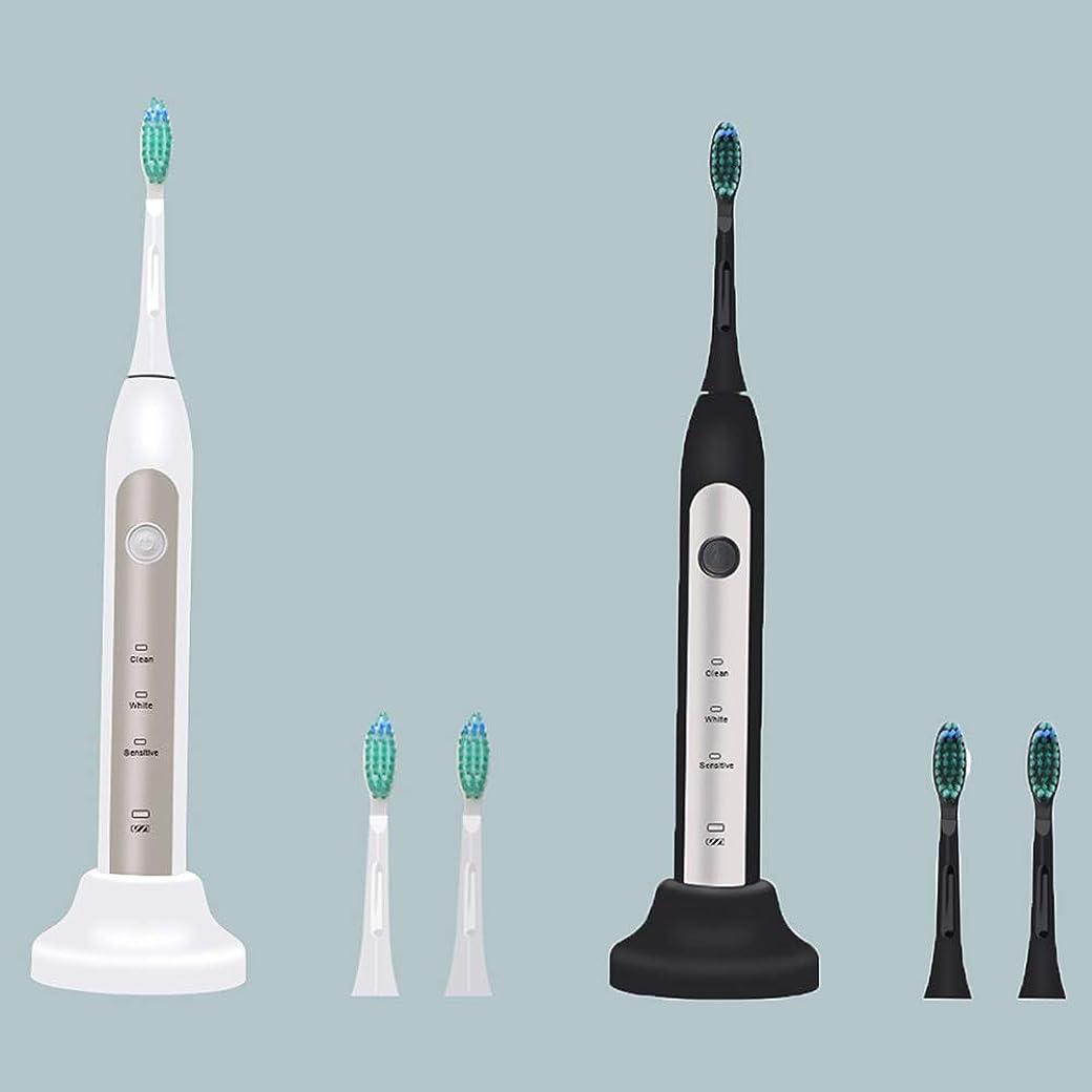 下位心配もろい2本のUSB音波ワイヤレス充電電動歯ブラシ、3つの使用モード(ブラック、ホワイト),A