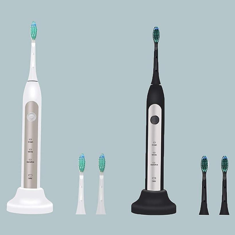 役職臭い誤解させる2本のUSB音波ワイヤレス充電電動歯ブラシ、3つの使用モード(ブラック、ホワイト),A