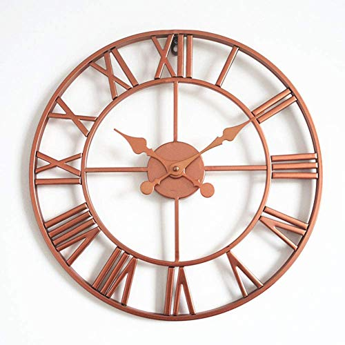 Klokken Ronde wandklok, retro handgemaakte Iron Skeleton Mute Opknoping Klok Modern Design Boerderij Slaapkamer alarm clock (Color : A)