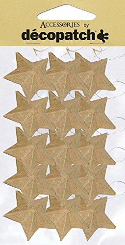 Décopatch AC355O - Un lot de 15 étoiles à suspendre avec cordon en papier brun mâché 2x4x4 cm