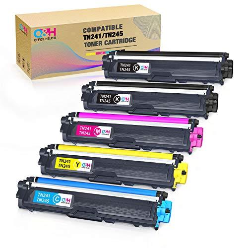 OFFICE HELPER Cartuccia di Toner Compatibile Ricambio per Brother TN241 TN245 per DCP-9020CDW DCP-9015CDW HL-3140CW HL-3150CDW HL-3170CDW MFC-9130CW MFC-9140CDN MFC-9330CDW MFC-9340CDW (5 Pacco)