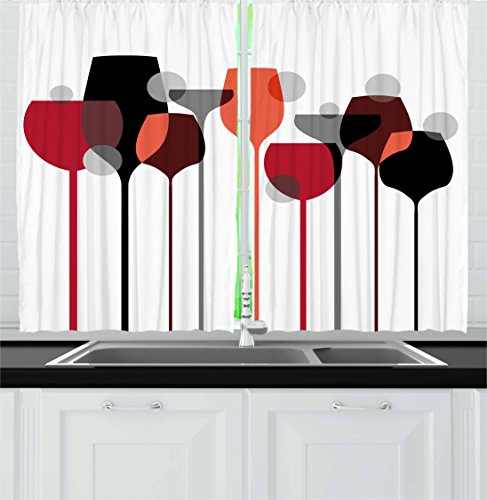 """Ambesonne Wine Kitchen Curtains, Abstract Wine Glasses Silhouettes with Dots Alcohol Drink Modern, Window Drapes 2 Panel Set for Kitchen Cafe Decor, 55"""" X 39"""", Black Grey"""