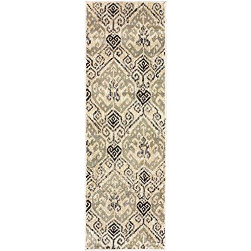 Superior Gorgeous Ikat Damask Pattern área Alfombra, Polipropileno, Beige, 2'7'x 8'