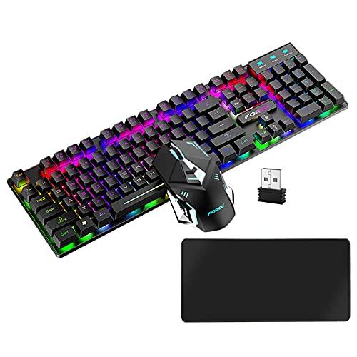 Tastiera e Mouse Wireless - Kit Tastiera Mouse Senza Fili E Stuoia, Meccanica Retroilluminata RGB Ricaricabile 2.4G, Resistente Agli Schizzi, Retroilluminato per Mac Gamer