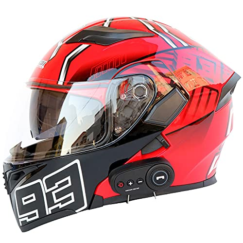 YGXS Motorcycle Helmet with Bluetooth, Anti-Fog Double-Sided Mirror Full Face Helmet 3000 Mah Battery Standby for 60 Days Four Seasons Removable for Cleaning,B,L