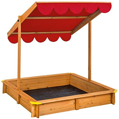 TecTake 800345 Sandkasten, Schwenkbares und Höhenverstellbares Sonnendach, Wurzelfeste Bodenplane - Diverse Farben (Rot | Nr. 402221)