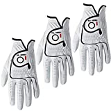 Finger Ten Mens All Premium Soft Cabretta Leather Tour Fit Grip ML Left Hand Lh Right Hand Rh with Cadet Size Golf Gloves Value 3 Pack (Medium/Large, Regular Size-Worn on Left Hand)
