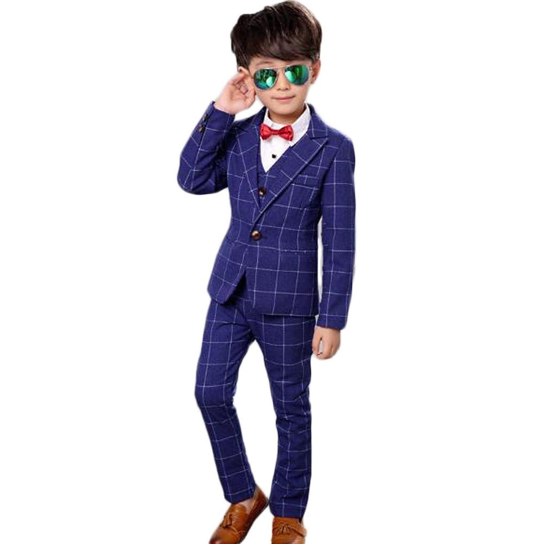 topmodelss フォーマルスーツ 子供服 チェック柄 ジャケット ベストズボン 男の子スーツ3点セット 結婚式 七五三 入園式 入学式