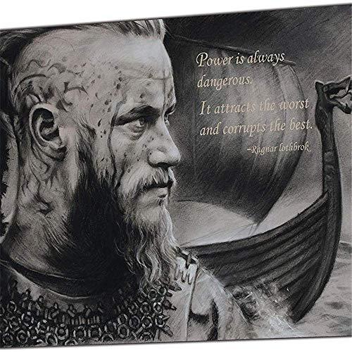 Lienzos de Fotos Ragnar Lothbrok Cita Vikingo Picture Photo Print sobre Lienzo Arte de la Pared Sala de Estar Decoración del hogar 60x90cm sin Marco