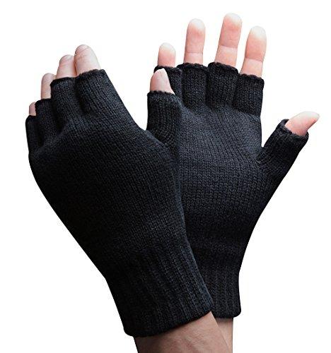 Thinsulate - 1 paar herren winter outdoor strick fleece fingerlose handschuhe in 2 Größen (M/L, Schwarz)