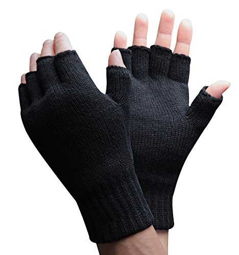 Thinsulate - 1 paar herren winter outdoor strick fleece fingerlose handschuhe in 2 Größen (M/L, Schwarz)