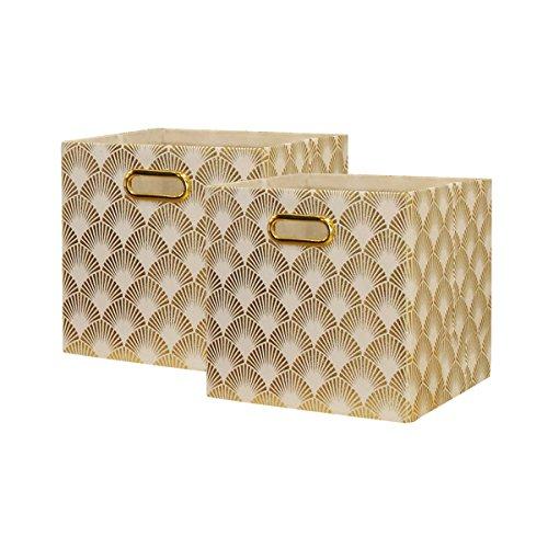 BAIST Cubby Storage Bins 11x11 Cube Storage Organizer Foldable Fabric Storage Cubes Big Canvas Storage Bins with Metal Handles for Nursery Shelf Bedroom Closet Toys Foods (2-Pack, Fan Gold)