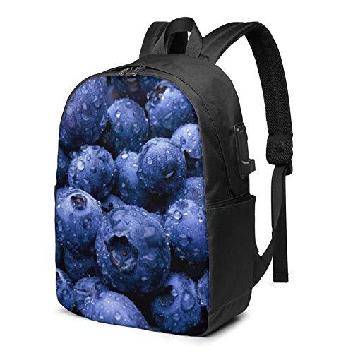 Sac à dos USB Blueberry pour ordinateur portable de 17 pouces pour homme/femme