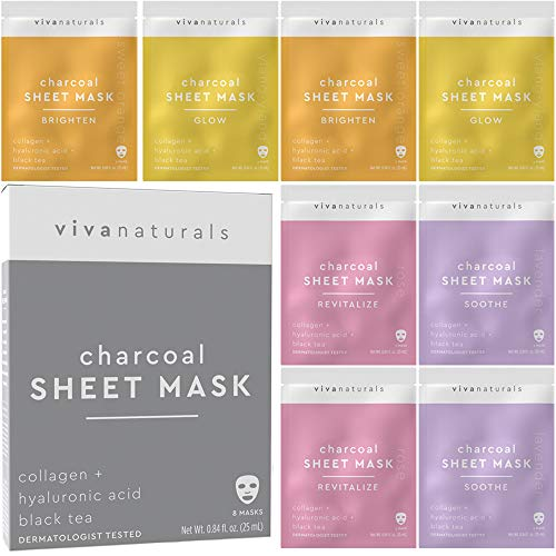 Face Mask for Korean Skincare - Sheet Mask for Detoxifying, Cleansing, Moisturizing and Brightening Skin | Dermatologist Tested Charcoal Face Mask with Collagen & Hyaluronic Acid for Soft Skin, 8 Pack